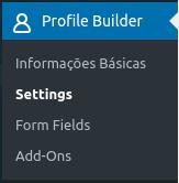 Opção Settings na seção do plugin Profile Builder