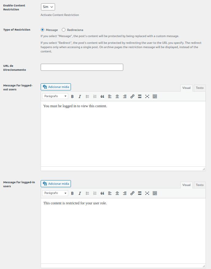 Configurações do plugin Profile Builder para permissão de acesso.