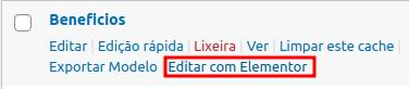 Clicar no link Editar com Elementor.