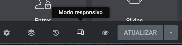 ícone modo responsivo, celular tablet e desktop elementor