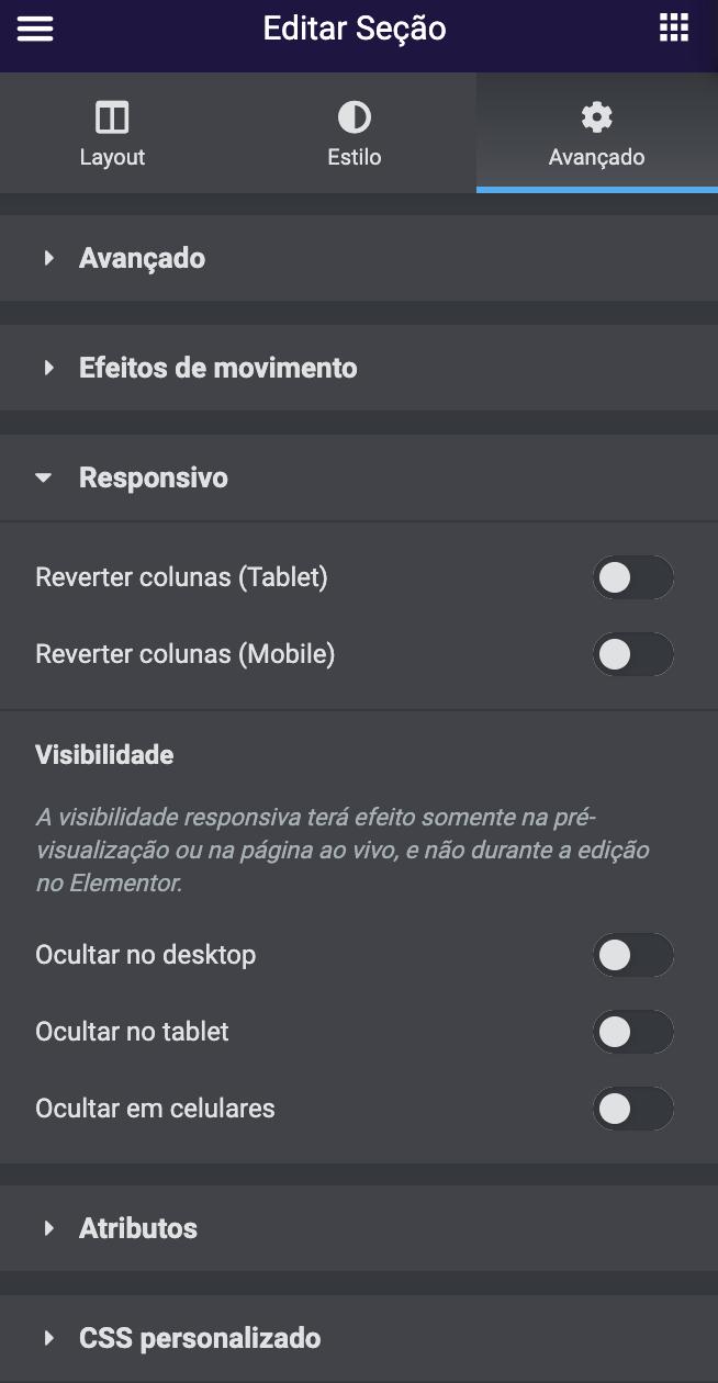 editar seção responsivo
