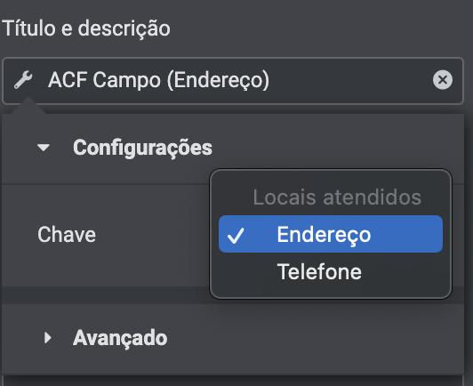 Elemento tipo texto, não mostra a opção de URL em campo personalizado