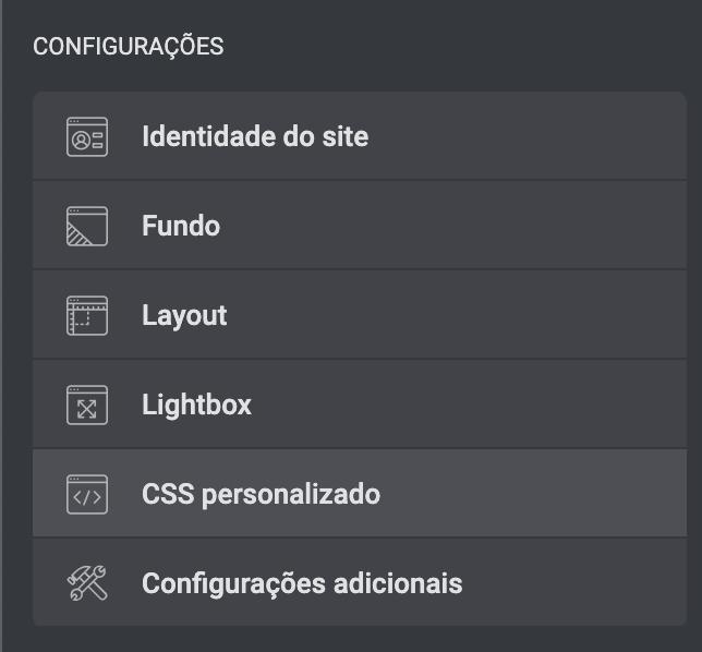 configuração de css personalizado com elementor