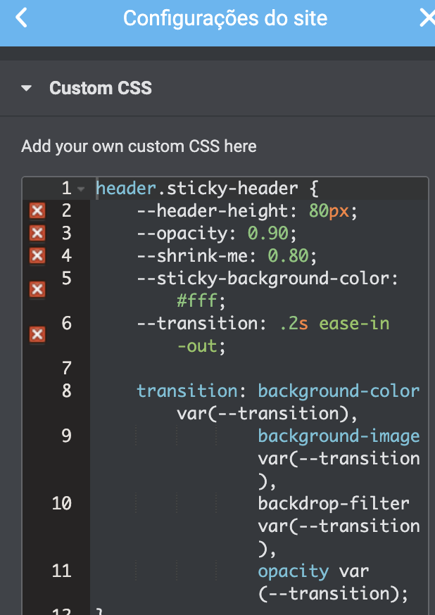 print de tela mostrando o código css inserido no elementor
